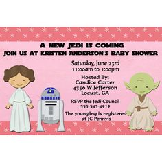 Invitations (blue with Han Solo for boys...but maybe creator can do gender neutral?)