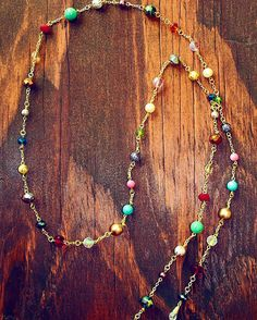 Long multicolor loriat necklace by LLDesignsbyLeAnne on Etsy