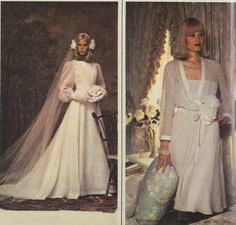 70s wedding dresses and cakes, 1975