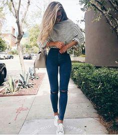 "elegance-fashion: "" White Striped Tshirt Dark Blue Jeans """