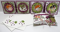 """Stampin' Up Square Pillow Box carrier for 3""""x3"""" cards created by Lynn Gauthier using SU Square Pillow Box Thinlits Die, SU Into the Woods Designer Series Paper and SU Acorn Builder Punch. Go to http://lynnslocker.blogspot.com/2015/09/stampin-up-square-pillow-box-acorn_28.html for details on how to make this project."""