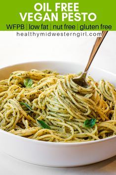 Oil-Free Vegan Pesto is oil-free, nut-free, dairy-free, glut Whole Food Recipes, Cooking Recipes, Healthy Recipes, Low Fat Vegan Recipes, Cooking Fish, Supper Recipes, Family Recipes, Vegan Foods, Vegan Dishes