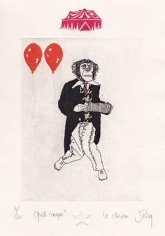 Gravures & Estampes | Jeanne Picq | Le clown | Tirage d'art en série limitée sur L'oeil ouvert