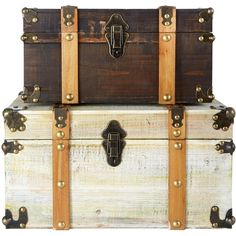 Set Of 2 Antique Effect Storage Trunks (€92) ❤ liked on Polyvore featuring home, home decor, small item storage, decor, furniture, filler, bags, metal home decor, antique storage trunk and metal trunk