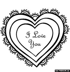 heart rose coloring pages for valentine day 2014 | Valentine's Day Online Coloring Pages | Page 1