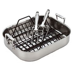You'll love the Stainless Steel 16 Roasting Pan with Rack and Turkey Forks at Wayfair - Great Deals on all Kitchen & Dining products with Free Shipping on most stuff, even the big stuff.