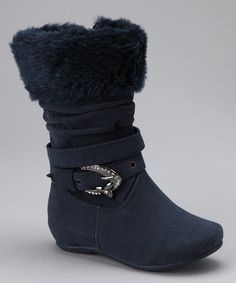 Take a look at this Blue Lulu Fuzzy Buckle Boot by PINKY FOOTWEAR on #zulily today!