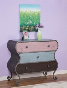 Image detail for -... with antiqued pewter 3 drawer dresser faux wood grain drawer fronts I LOVE THIS!