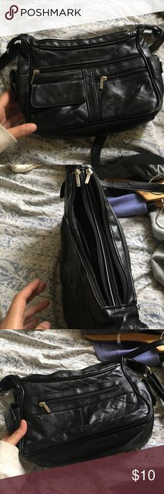 Black multi pocket long strap I bought this at the fair 2 years ago, I got it for like $35. I l believe it's genuine leather but not sure. Open to trades:) this is NOT a fossil bag, this does not have a brand listed! Fossil Bags Crossbody Bags