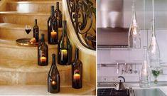 küche mit selber gemachte hängende lampen aus flaschen und treppen mit kerzen in flaschen