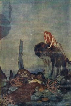 Edmund Dulac- Ariel: Full fathom five thy father lies - Shakespeare's The Tempest, 1908