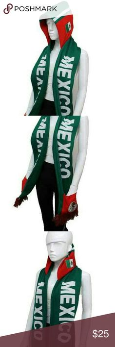 Hooded Scarf with Pockets LOGO; MEXICO Accessories