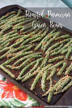 Roasted Parmesan Green Beans: easy, healthy, and delicious vegetable dinner side dish recipe for a unique holiday spin instead of your traditional Thanksgiving casserole! #LeaveBlandBehind #ad