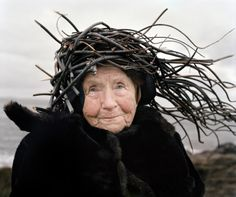 Eyes as Big as Plates is an ongoing creative collaboration between Riitta Ikonen (Finland) and Karoline Hjorth (Norway) where they dress senior citizens in organic outfits inspired by Finnish and Nordic folklore.