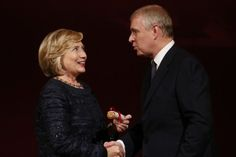 In London, the Duke of York's obviously in a very good mood, he was awarded the Chatham House Prize by Hillary Clinton in recognition of his involvement in the development of international relations
