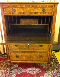 Berkey and Gay Secretary Dresser / Desk $899 - Chicago http://furnishly.com/catalog/product/view/id/1521/s/1930-vintage-berkey-gay-drop-front-desk-secretary-burled-front-inlaid-top/