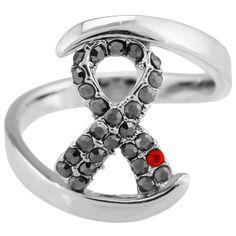 Diabetes Ribbon Sparkle Ring