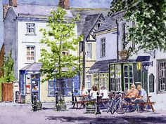 Agent Art Print featuring the painting Town Square Eynsham by Mike Lester