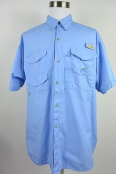 Sold columbia pfg mens shirt fishing outdoor aqua blue for Columbia fishing gear