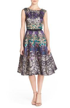 Gabby Skye Floral Shantung Fit & Flare Dress available at #Nordstrom