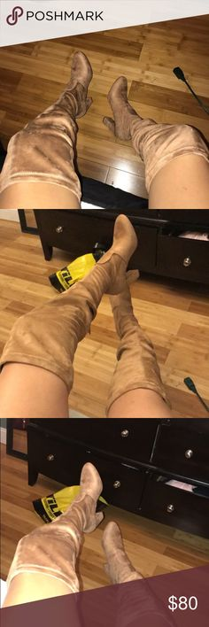 """Steve Madden """"emotion"""" thigh high boots Never worn, super cute. Very stylish Steve Madden Shoes Over the Knee Boots"""