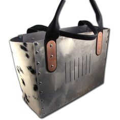Wooohoo - definitely for the Geek in Black - this is one uber cool tote most guys will kill for! OK a few of us girls are lusting after it too. $180.00 #etsy #mixedmedia #hide #aluminimu #rivets #copper #futuristic