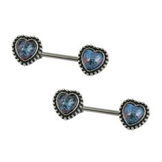 Pair of 316L Stainless Steel Nipple Bars with Red Turquoise Accented Crescent Moon