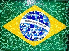 Bandeira do Brasil em mosaico.