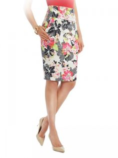 Women's #Fashion Clothing: Skirts: GUESS By Marciano Women's Black Hibiscus Floral Pencil #Skirt: Clothes