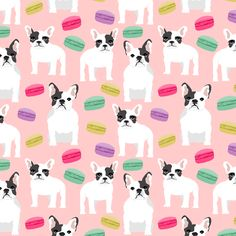 © Pet Friendly - Super cute french bulldog fabric.  Best french bulldog french macaron print for trendy decor and home textiles.  Sweet pastel macaron sweets bakery treats.  Frenchie owners will love this sweet macaron frenchies fabric.