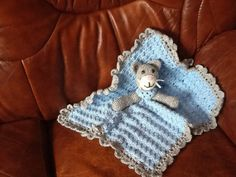 Handmade blue crocheted comfort blanket by Happilyevercrafts, £8.50