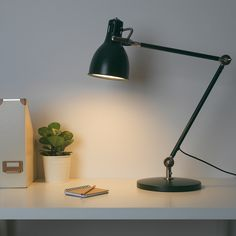 ARÖD Work lamp with LED bulb, green. You can easily direct the light where you want it because the lamp arm and head are adjustable. Provides a directed light that is great for reading. Led Desk Lamp, Table Lamp, Bedside Lamp, Office Lamp, Work Lamp, Work Desk, Ikea Family, Led Lampe, Cleaning Wipes