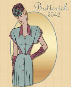 Vintage Pattern Butterick 3542 - 1940s Career Day Dress Pattern with Unusual Bodice Detail
