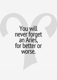 You will NEVER forget an ARIES... for better or for worse...