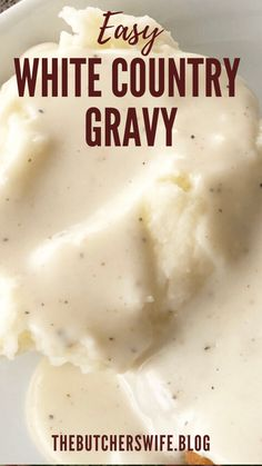 Easy White Country Gravy (made with 5 ingredients)   The Butcher's Wife Homemade Gravy Recipe, Homemade Sausage Gravy, White Country Gravy Recipe, Best Biscuits And Gravy, Gravy From Scratch, Creamy Dill Sauce, Breaded Pork Chops, Griddle Recipes, Chicken Fried Steak