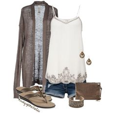 """""""Elephants"""" by kaseyofthefields on Polyvore - pretty embellishments on tank and love the earrings and flip flops"""