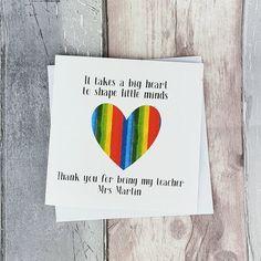 Personalised Thank you teacher card Handmade Teacher card   Etsy Teacher Thank You Cards, Be My Teacher, Handmade Thank You Cards, Greeting Cards Handmade, Nursery Assistant, My Favourite Teacher, 60th Birthday Cards, Hand Logo, Heart Cards