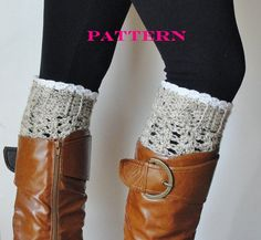 This listing is for my Lace Boot Cuff Pattern. This is a great pattern for beginner to advanced beginner crochet enthusiasts. Boot cuffs are Crochet Boot Socks, Crochet Slippers, Knitting Socks, Knit Hats, Knitting Ideas, Crochet Woman, Knit Crochet, Crochet Things, Beginner Knit Scarf