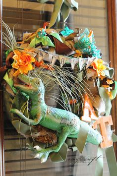 Rustic Dinosaur Birthday Party (dino wreath is fun)