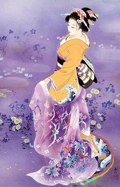 Painting of a Geisha Art Geisha, Geisha Anime, Purple Tattoos, Asian Artwork, Art Chinois, Art Asiatique, Art Japonais, Japanese Painting, Chinese Painting