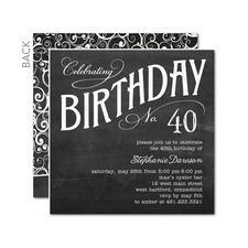 Charming Chalk Adult Birthday Party Invitations