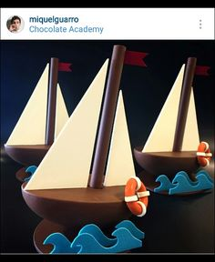 When snacks and art collide. Can't decide if I would eat or play with these. photo credit by snacks_n_eats Chocolate Club, Chocolate Work, Chocolate Fondant, Chocolate Gifts, Chocolate Molds, Chocolate Truffles, Chocolate Showpiece, Chocolate Garnishes, Sailboat Cake