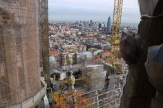 A view from the tower of sagrada família and Torre agbsr in Barcelona Spain