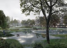 A network of sunken basins and water-purifying planting have been developed by landscape firm SLA and Ramboll engineers to help avert flooding in Copenhagen