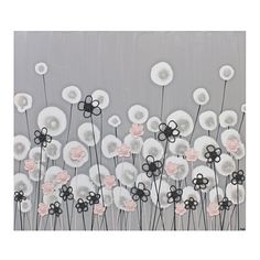 The flowers in this nursery art are hand-painted in acrylics and textured with pink and charcoal blossoms. The canvases are sealed with a semi-gloss