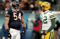 Brian Urlacher (Chicago Bears) and Aaron Rodgers