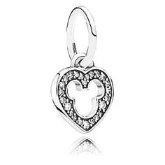 Disney Mickey Mouse Silhouette Charm by PANDORA | Disney StoreMickey Mouse Silhouette Charm by PANDORA - You'll happily wear your heart on your sleeve when it's formed around a silhouette of Mickey. Fashioned in sterling silver by PANDORA, the charm features a dazzling 11 micro bead-set and 13 bead-set cubic zirconias.