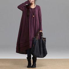 purple black orange colors Loose Fitting Linen long door clothnew88