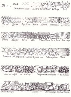 Erwin Raisz map symbols for representing physical geography, such as vegetation and mountains Mapmaking Map design Drawing Techniques, Drawing Tips, Maps Design, Design Design, Interior Design, Fantasy Map Making, Map Symbols, Rpg Map, Physical Geography