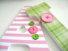 Custom Hand Decorated Wooden Letters PINK & GREEN  by LetterLuxe, $25.00